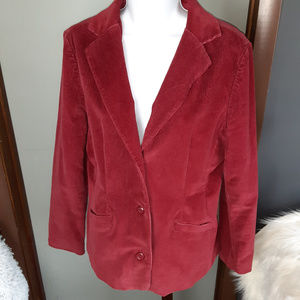 L.L. Bean Womens Red Lined Corduroy Blazer Jacket